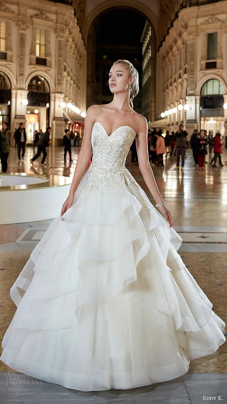eddy k milano bridal 2017 strapless sweetheart embellished bodice tiered skirt ball gown wedding dress (md200) mv