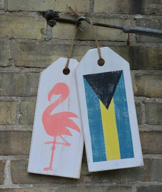 Bahamas flag.  Beach decor.  Flamingo sign.  Front door decor.  Beach house decor.  Flags of the World.