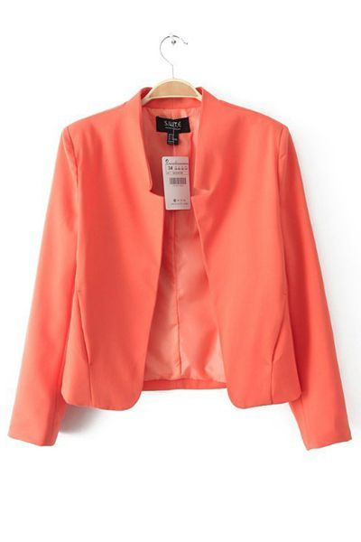 Candy Color Buttonless Slim Blazer