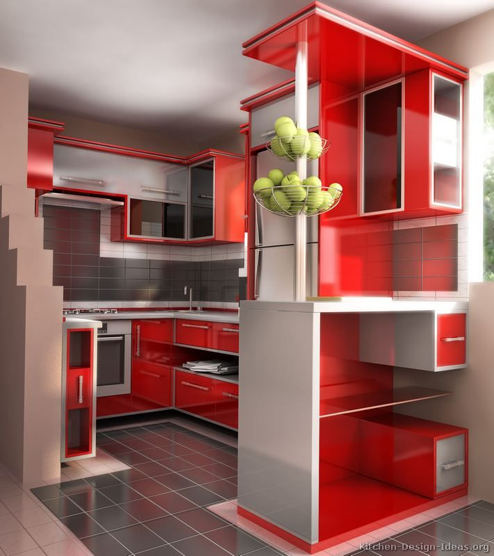 Modern Red Kitchen Cabinets Design Ideas Org Pinterest Interior And