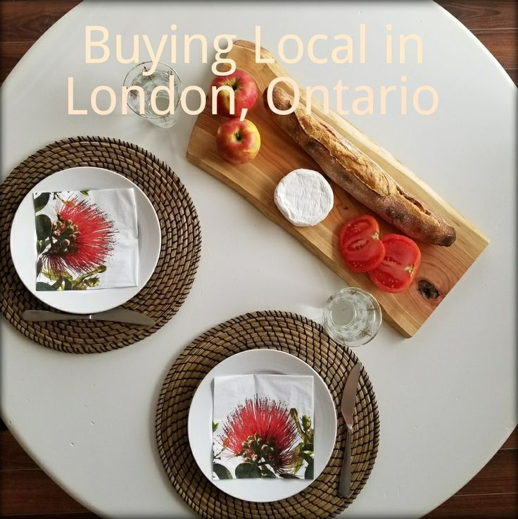 Buying locally grown and sourced organic fruit, vegetables, bread, cheese, coffee in the markets of London Ontario