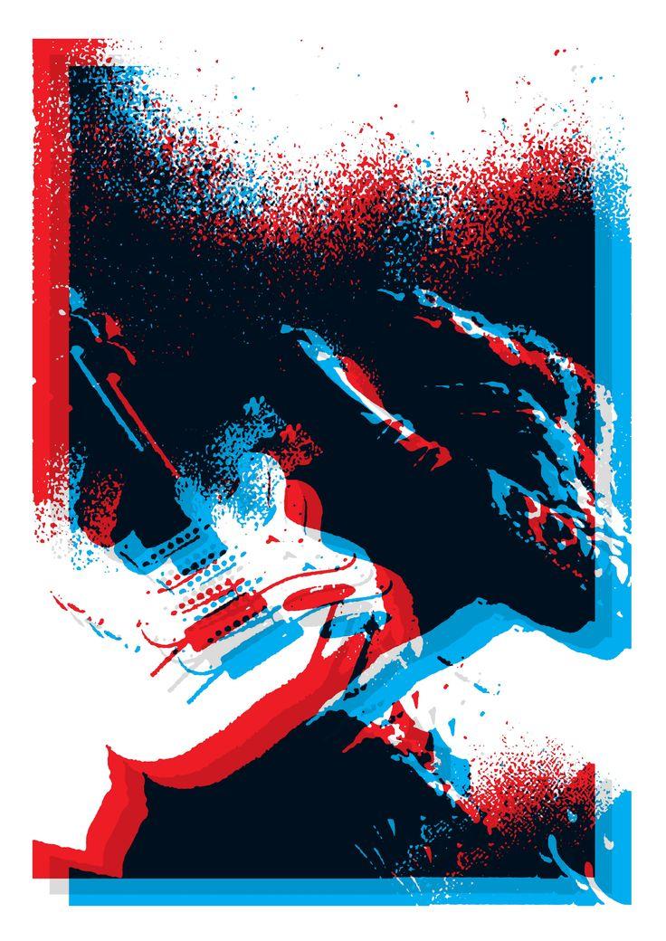 jimi hendrix, 3d, poster, graphic, fender guitar