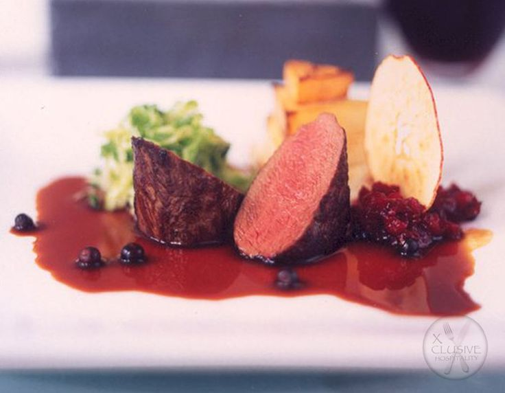 Locally Reared Loin of Venison, Confit Cabbage, Apple Crisp #catering #events #leicestershirefood #xclusive