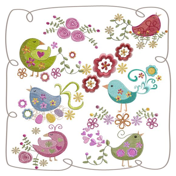 Retro Birds: Embroidershoppe