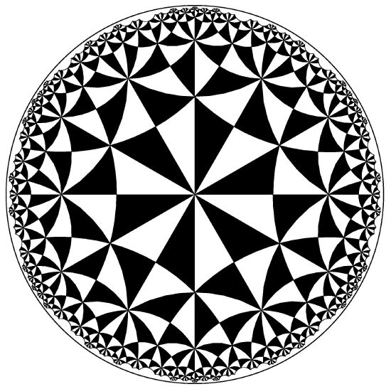 "A tiling of the hyperbolic plane by black and white triangles.  This tiling exhibits a great deal of regularity, but it does not fit   our technical definition of a ""regular tessellation"""