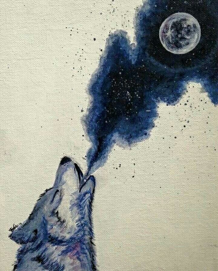 Wolf Spirit Animal Howling at Full Moon | Totem | Totemic Native American Art | Night | Cosmic
