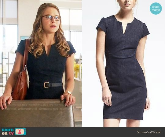 Kara's denim split-neck dress on Supergirl.  Outfit Details: https://wornontv.net/71646/ #Supergirl