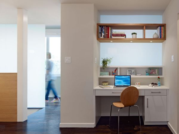 Home Office Design Idea for Small Space http://www.decoist.com/2012-11-01/20-home-office-design-ideas-for-small-spaces/