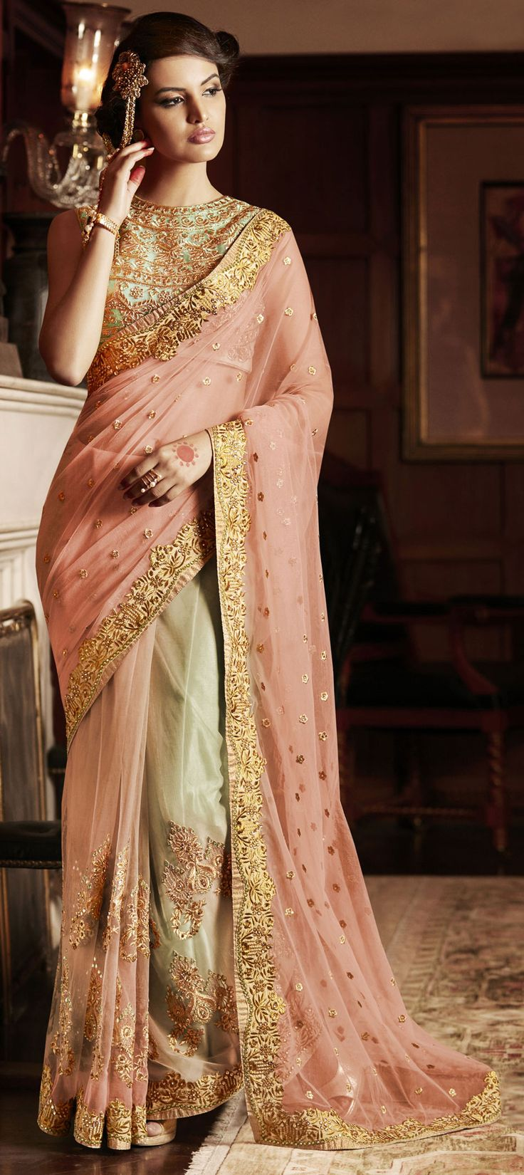 189205: Pink and Majenta color family Embroidered Sarees, Party Wear Sarees with matching unstitched blouse.