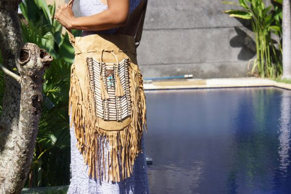 Mocca Navajo Bag Bohemian Bag Boho Bag Leather by BramsKaraDesign