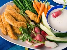 Panko Crusted Chicken with Blu Cheese Dip