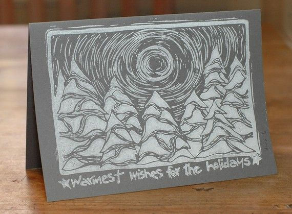 Linocut Holiday Cards Snowy Forest Set of 8 by danabradleydesign, $20.00
