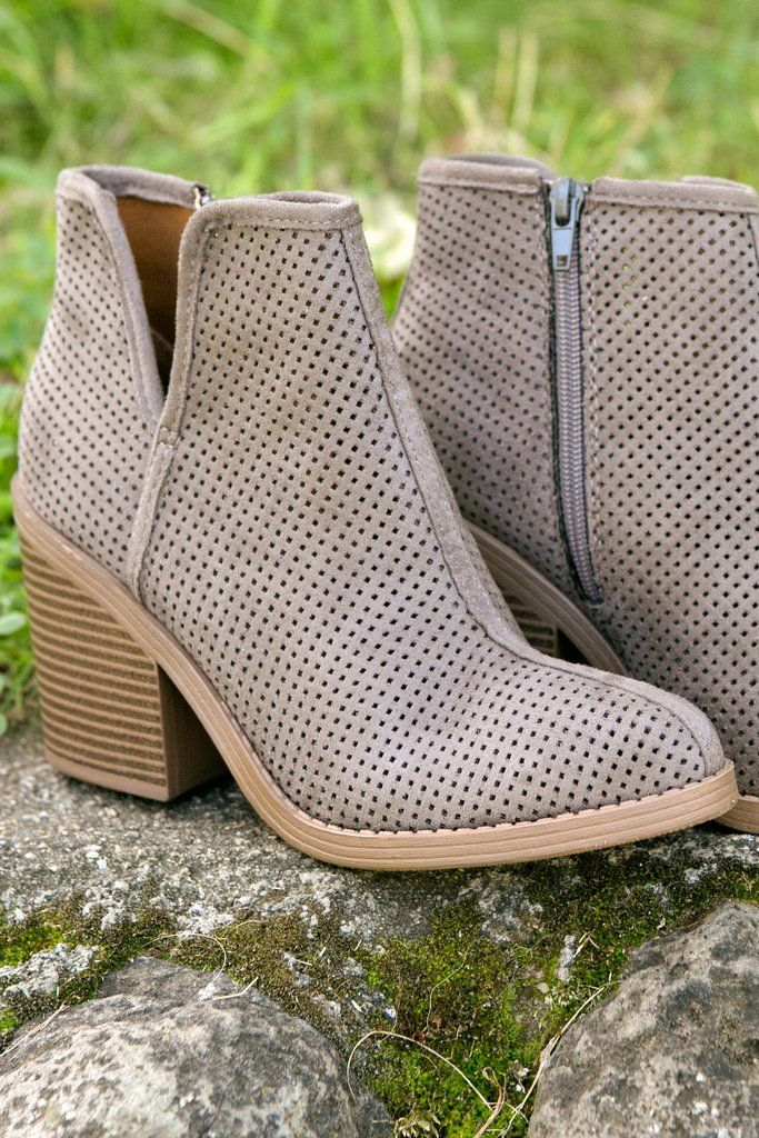 e5e75008d Everyday Booties- Women's Soda Brand Perforated Tarpon Block Heel V-Cut  Side Zip Ankle Boots Fall 2018 Fashion forelyse.com