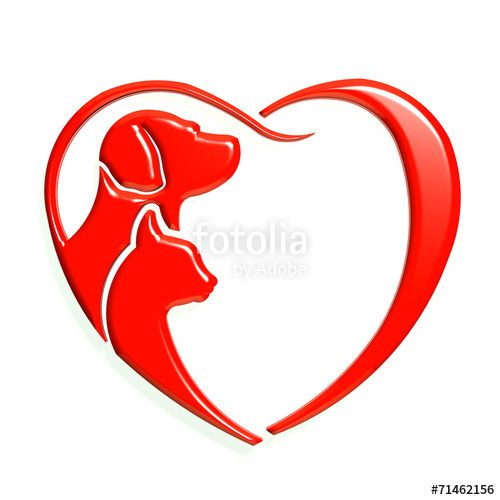 Dog cat red heart love, 3D graphic isolated … | Pinteres…