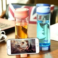 Creative Portable Plastic Cup Fashion Phone Bracket Bottle Outdoor Drinkware