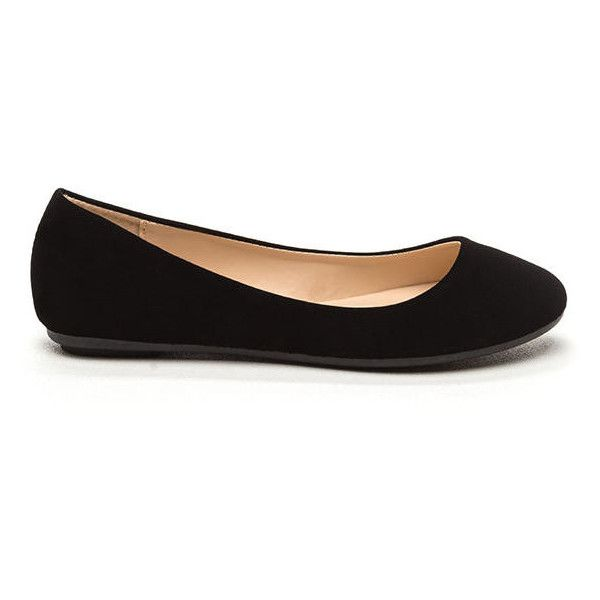 Casual Friday Faux Nubuck Flats (£9.69) ❤ liked on Polyvore featuring shoes, flats, black, black shoes, ballerina shoes, ballerina pumps, flat shoes and round toe flats