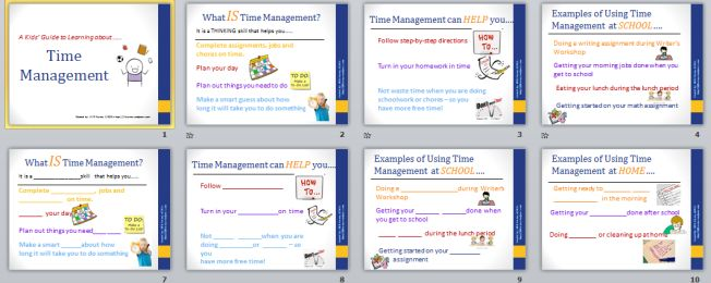 "PowerPoint for Kids - explaining the executive function concept of ""Time Management"".  From Jill Kuzma at http://jillkuzma.wordpress.com"