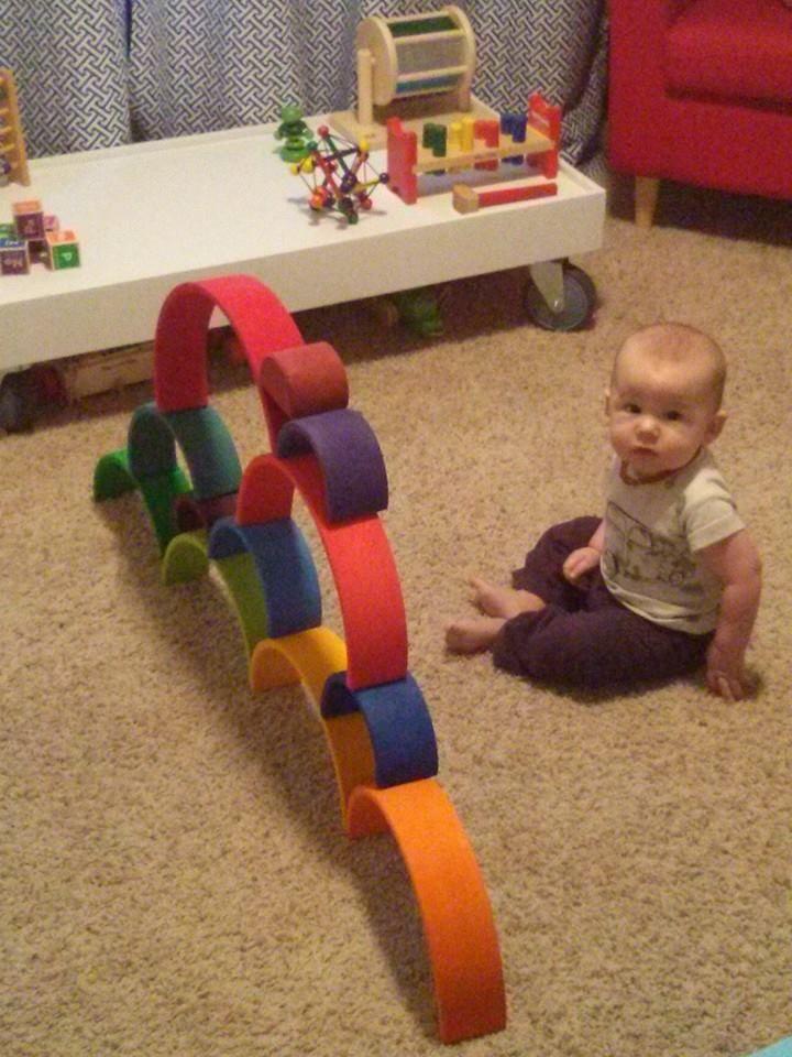 Waldorf toys Grimm's rainbow stacker
