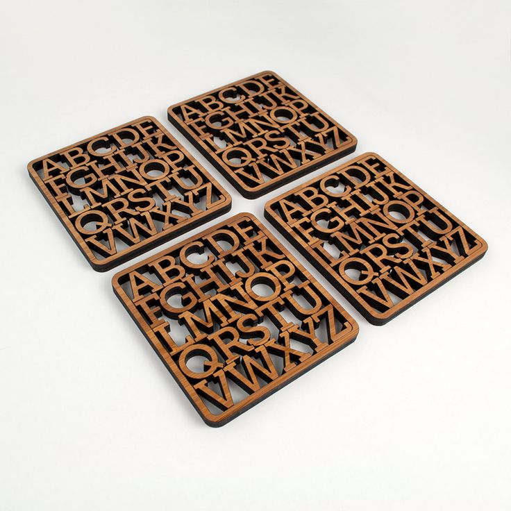 Bamboo Alphabet Coasters: Modern Typography Wood Coasters