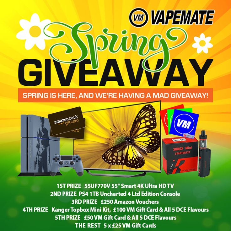 "It's that time again folks, the sun is finally out and Vapemate has clearly gone a bit mad. Vapemate's 2016 Spring Giveaway features 10 prizes worth more than £1800 to be won. With more than 20 ways to win, you'd be crazy not to enter right now! FIRST LG 55UF770V 55"" Smart 4K Ultra HD TV SECOND PS4 1TB Uncharted 4 Ltd Edition Console THIRD £250 Amazon Vouchers FOURTH Kanger Topbox Mini Kit, £100 VM Gift Card & All 5 DCE FlavoursFIFTH £50 VM Gift Card & All 5 DCE FlavoursRUNNERS..."