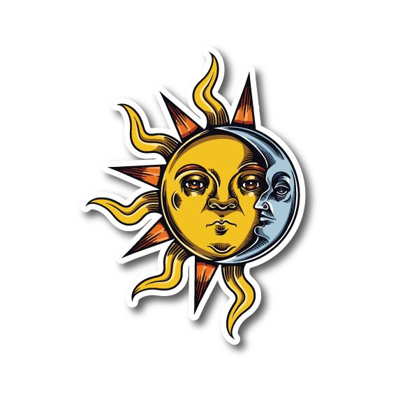 Occult Sun Moon Vinyl Sticker Vinyl Stickers In 2019