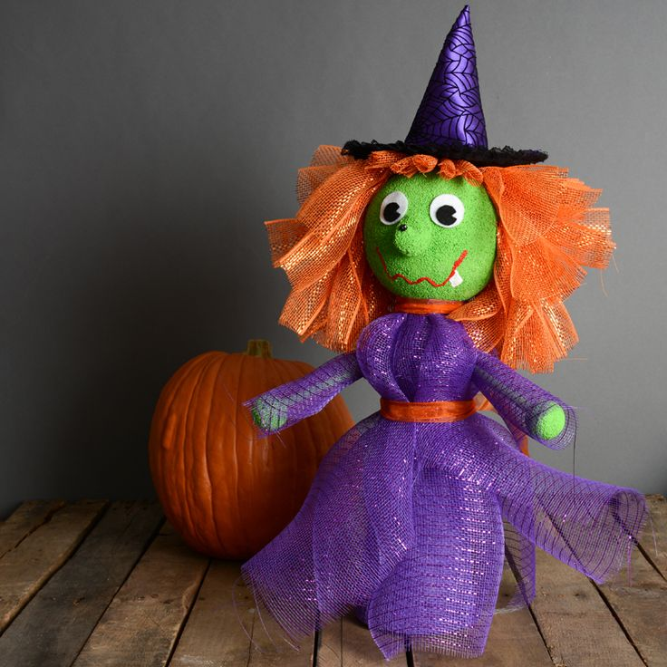 Halloween Deco Mesh Witch For Anywhere In Your Home Or Tablescape   Fun And Cute  Halloween