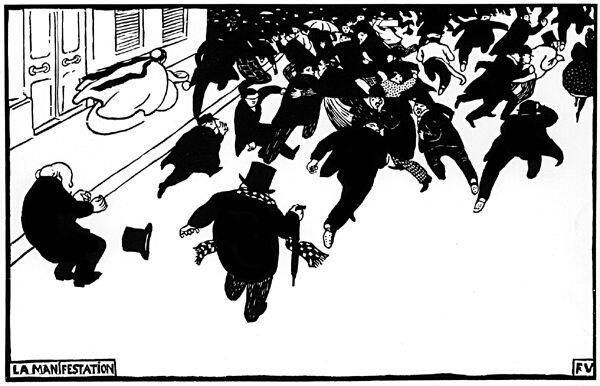 Félix Vallotton, La Manifestation 1893 - gravure sur bois