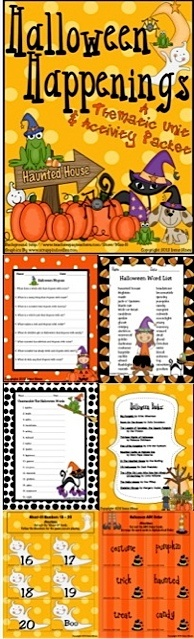 Halloween Happenings : A Thematic & Activity Packet For Halloween. This unit has 90 pages of games, activities and printables all relating to Halloween. ~Halloween Word & Book List ~ Making Connections ~ Five Senses Printable ~ Halloween Rhymes & Verbs ~ Halloween Word Scramble & Web ~ Writing Activities ~ ABC Order Activity ~ Venn Diagrams ~ Word search & Maze ~ Many Graphic Organizers & Foldables~ Math Ghost-It Games & Color By The Code... $