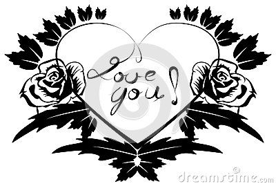 Vector drawing of a black letters surrounded by Heart with Love you subtitled. Whether mug can be printed.