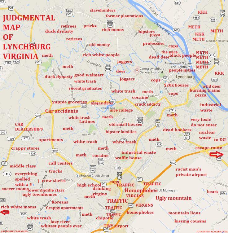JUDGEMENTAL MAPS Lynchburg, VA by Joseph Estrada Copr. 2014 Joseph Estrada. All Rights Reserved.