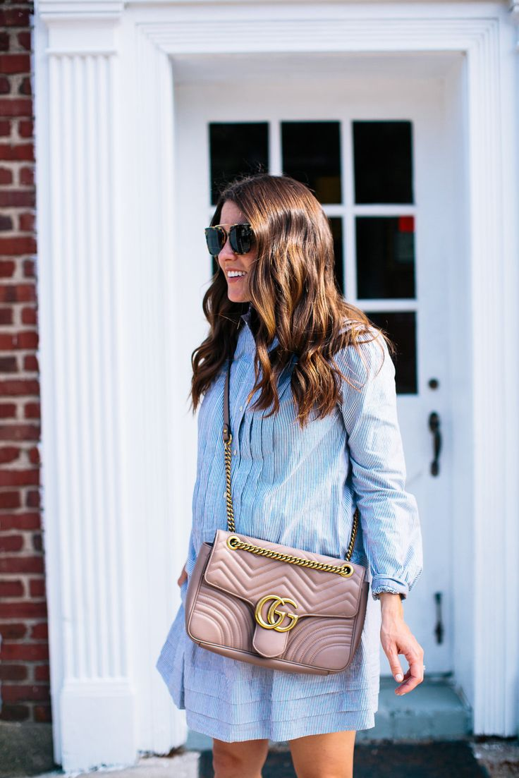 Blush Gucci Marmont Bag and Rebecca Taylor Shirtdress.