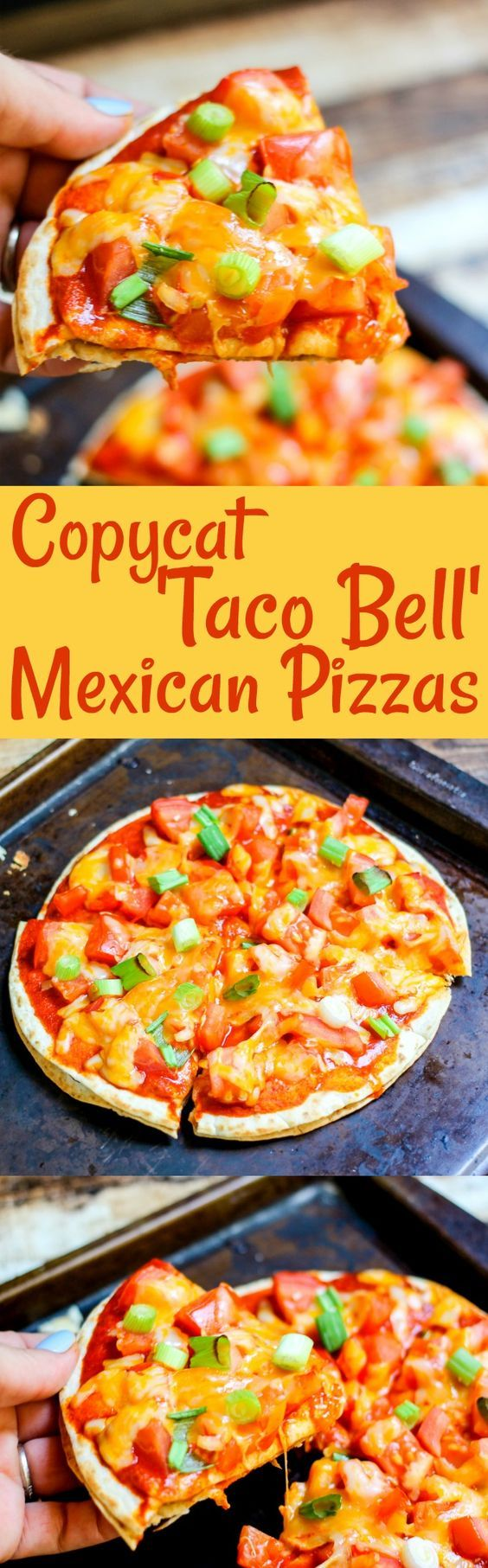 Copycat Taco Bell Mexican Pizzas are the PERFECT dinner recipe! With less than 400 calories, you can feel good about serving this fresh family meal!