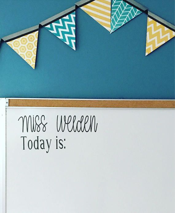 (AD) Teacher Name and Date vinyl white board decal.