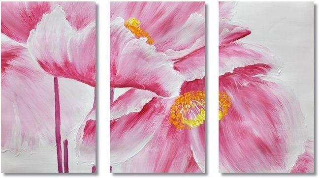 Bloemen Kunst, Acryl Schilderij 'Pink Poppies 2', Drieluik schilderij met roze bloemen van Aleksandra - Kunstvoorjou.nl
