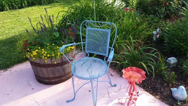 Vintage Wrought Iron Chair and Ashtray stand.