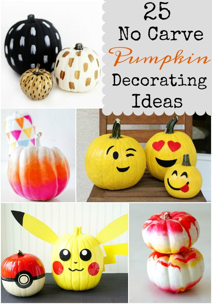 Trying to avoid using knives or scooping out the guts in pumpkins? Check out these 25 No Carve Pumpkin Decorating Ideas! You're sure to love them.
