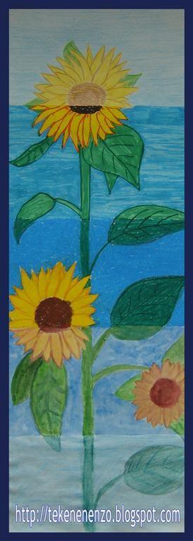 Tekenen en zo: Zonnebloem met verschillende materialen