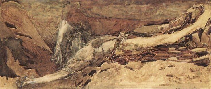 Мир Врубеля. Демон поверженный. Иллюстрация к поэме. 1901
