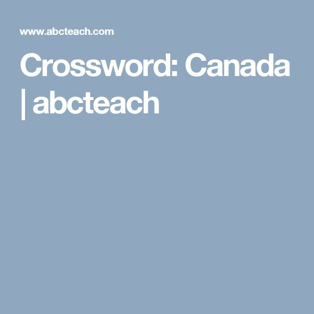 Crossword: Canada | abcteach
