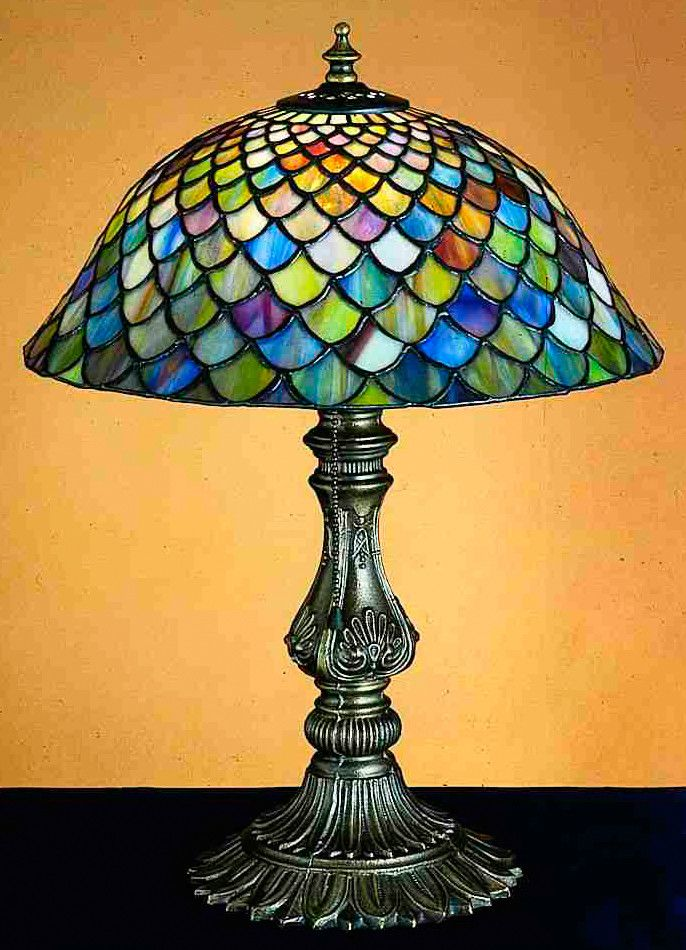 Features:  -Table lamp.  -Fishscale pattern.  Fixture Finish: -Mahogany bronze.  Fixture Material: -Metal.  Bulb Type: -Incandescent.  Country of Manufacture: -United States. Generic Specifications:
