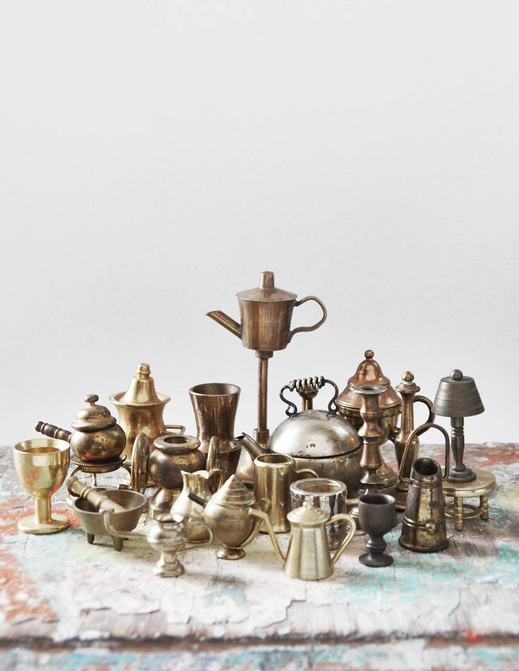 Vintage Brass Miniature Lot - dollhouse sized mini tea kettles, coffee pots, wine glass, mortar and pestle, candlestick, lamp, vase by CuriosityCabinet on Etsy
