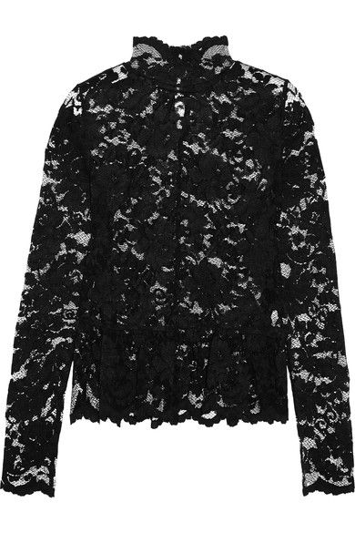 Black stretch-lace  Button-fastening keyhole at back 67% polyamide, 30% viscose, 3% elastane  Dry clean Imported