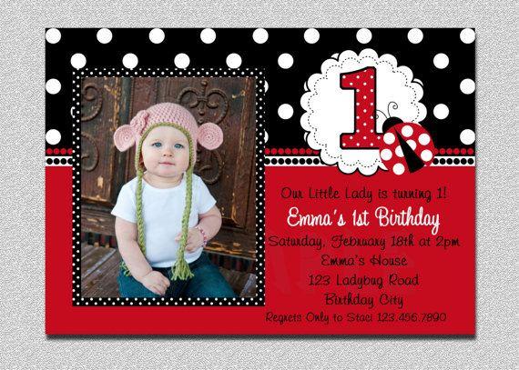 Ladybug Birthday Invitation Ladybug 1st Birthday Party Invitations Printable on Etsy, $15.00