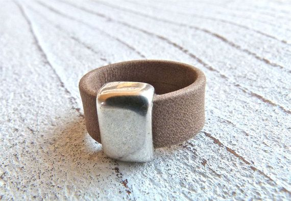 Leather ring #39, Ladies Ring, Ring for women,Boho Chic, Gypsy Ring,light brown Ring,Zamak, Handmade Jewelry,women,High Fashion,Gift for Her