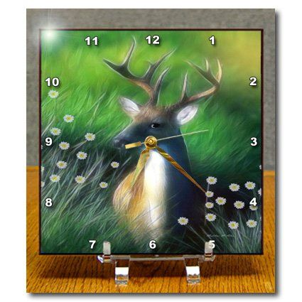 dc_101143_1 SmudgeArt Animal Designs - White Tailed Deer Standing In Wild Flowers - Desk Clocks - 6x6 Desk Clock 3dRose http://www.amazon.com/dp/B00B8B3OMG/ref=cm_sw_r_pi_dp_IXQbwb1KTRXBV