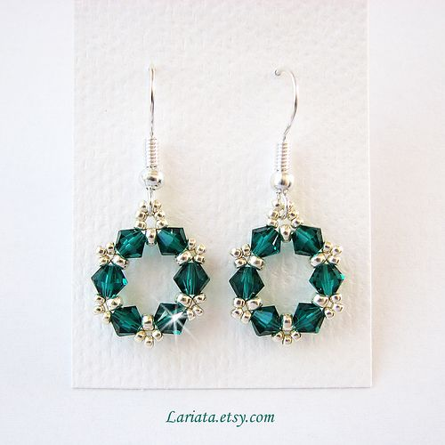emerald green and silver earrings | by Lariata