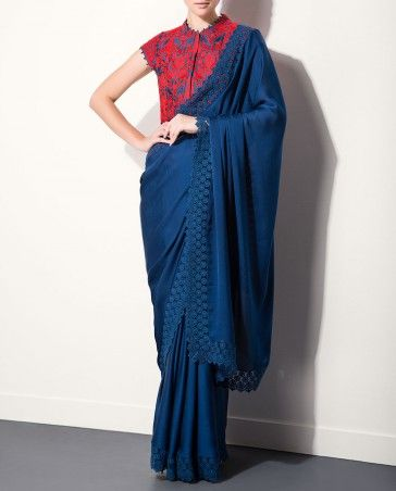 Lapis Blue Sari with Embroidered Blouse by AM:PM Shop Now: http://bit.ly/ampmsaris #Red #Luxury #Fashion #DesignerWear #India #Contemporary #ExclusivelyIn #Indian #AMPM #Chic #Navy #Saree #Designer #Scarlet #Sari