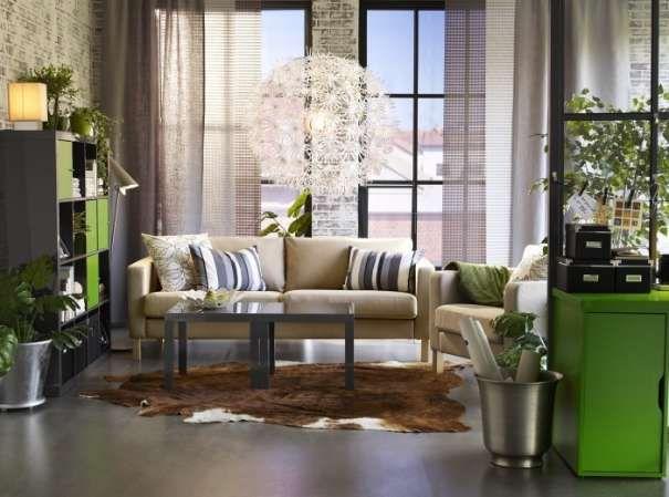 (Lieferung) IKEA Karlstad 3er Sofa Beige Rauleder