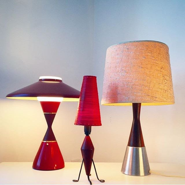 Classic midcentury table lamp in rosewood and by Deerstedt on Etsy