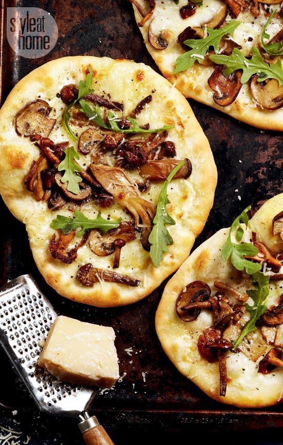 Pizza recipe: Mushroom pizza with arugula and truffle oil {PHOTO: Maya Visnyei}